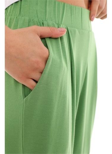 Curly  Pileli Örme Pantolon Yeşil